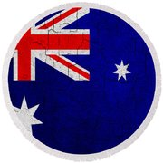 Grunge Australia Flag Round Beach Towel
