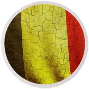 Grunge Belgium Flag Round Beach Towel