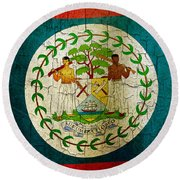 Grunge Belize Flag  Round Beach Towel