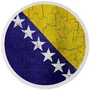 Grunge Bosnia And Hertzegoniva Flag Round Beach Towel