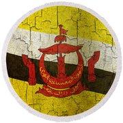 Grunge Brunei Flag Round Beach Towel