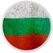Grunge Bulgaria Flag Round Beach Towel
