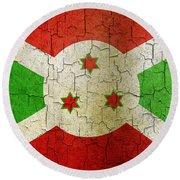 Grunge Burundi Flag Round Beach Towel