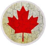 Grunge Canada Flag Round Beach Towel