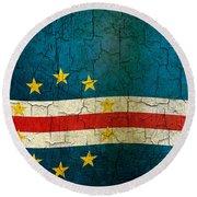 Grunge Cape Verde Flag Round Beach Towel