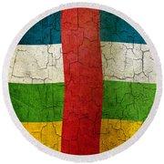 Grunge Central African Republic Flag Round Beach Towel