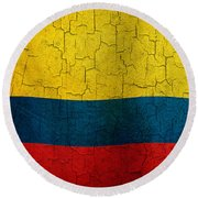 Grunge Colombia Flag Round Beach Towel