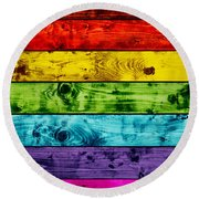 Grunge Colorful Wood Planks Background Round Beach Towel