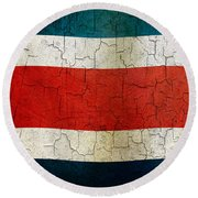 Grunge Costa Rica Flag Round Beach Towel