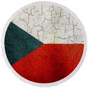 Grunge Czech Republic Flag Round Beach Towel