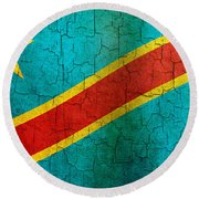Grunge Democratic Republic Of The Congo Flag Round Beach Towel