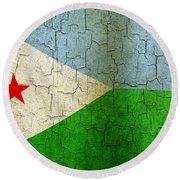 Grunge Djibouti Flag Round Beach Towel