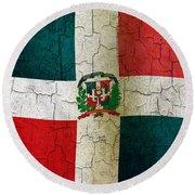 Grunge Dominican Republic Flag Round Beach Towel