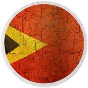 Grunge East Timor Flag Round Beach Towel