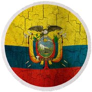 Grunge Ecuador Flag Round Beach Towel