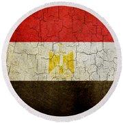 Grunge Egypt Flag Round Beach Towel