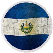 Grunge El Salvador Flag Round Beach Towel