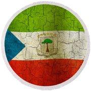 Grunge Equatorial Guinea Flag Round Beach Towel