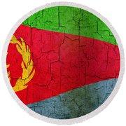 Grunge Eritrea Flag Round Beach Towel