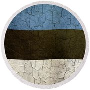 Grunge Estonia Flag Round Beach Towel