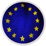 Grunge European Union Flag Round Beach Towel