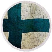 Grunge Finland Flag Round Beach Towel