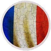 Grunge France Flag Round Beach Towel