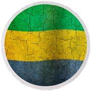 Grunge Gabon Flag Round Beach Towel