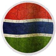 Grunge Gambia Flag Round Beach Towel