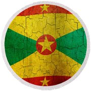 Grunge Grenada Flag Round Beach Towel
