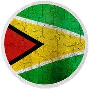 Grunge Guyana Flag Round Beach Towel