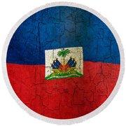 Grunge Haiti Flag  Round Beach Towel