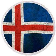 Grunge Iceland Flag Round Beach Towel