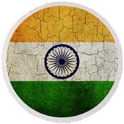 Grunge India Flag Round Beach Towel