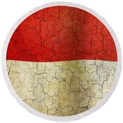 Grunge Indonesia Flag Round Beach Towel