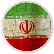 Grunge Iran Flag Round Beach Towel