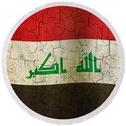 Grunge Iraq Flag Round Beach Towel