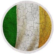 Grunge Ireland Flag Round Beach Towel