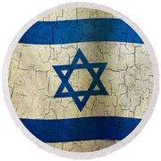 Grunge Israel Flag Round Beach Towel