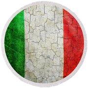 Grunge Italy Flag Round Beach Towel