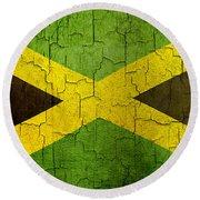 Grunge Jamaica Flag Round Beach Towel