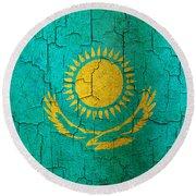Grunge Kazakhstan Flag Round Beach Towel