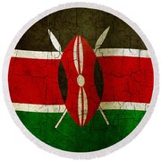 Grunge Kenya Flag Round Beach Towel
