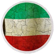 Grunge Kuwait Flag Round Beach Towel