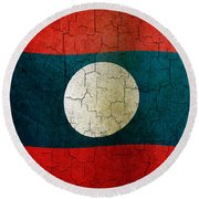 Grunge Laos Flag Round Beach Towel