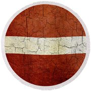 Grunge Latvia Flag Round Beach Towel
