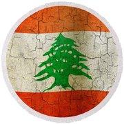 Grunge Lebanon Flag Round Beach Towel