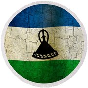 Grunge Lesotho Flag Round Beach Towel