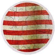Grunge Liberia Flag Round Beach Towel