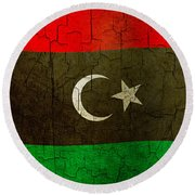 Grunge Libya Flag Round Beach Towel